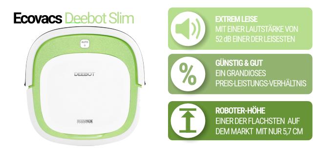 Flacher Saugroboter Deebot Slim grün
