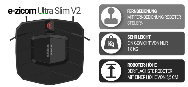 Flacher Saugroboter e-zicom Ultra Slim V2 in schwarz