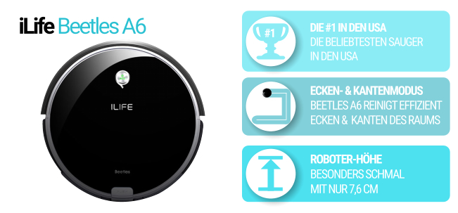 Flacher Saugroboter iLife Beetles A6 in schwarz