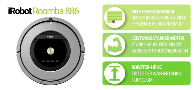 Flacher Saugroboterr iRobot Roomba 886 in silber und schwarz