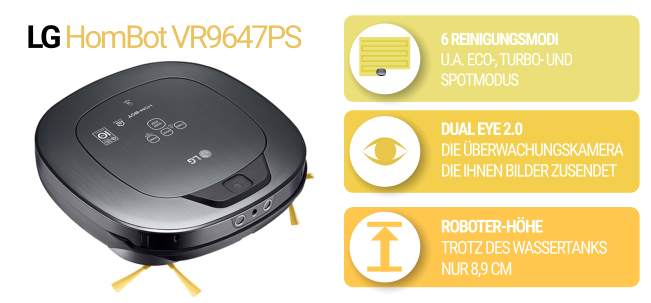 Flacher Saugroboter Hombot VR9647PS in schwarz und gelb
