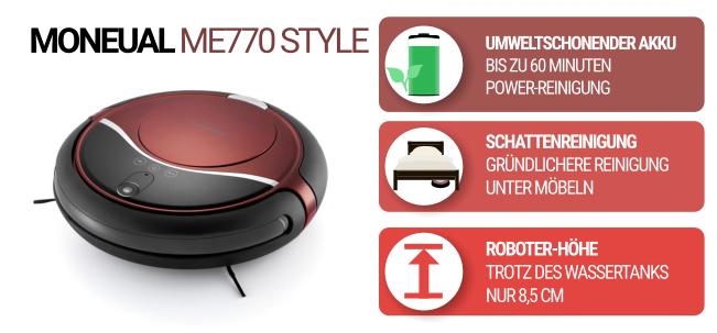 Flacher Saugroboter Moneual ME770 in schwarz und rot