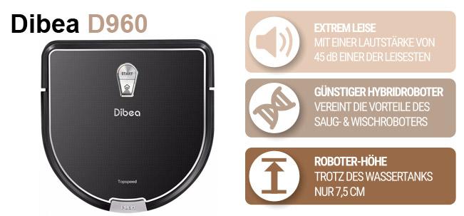 Flacher Saugroboter Dibea D900 gold und schwarz