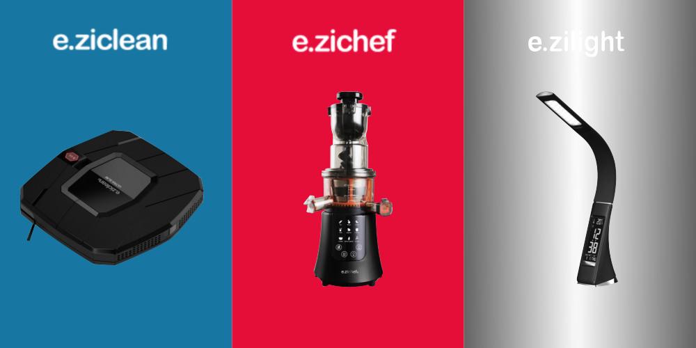 E.Zicom E.Ziclean E.Zichef E.Zilight Haushaltsroboter, Saftpresse und Leuchte