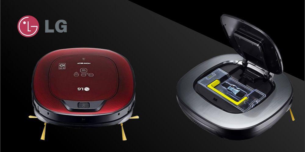 LG Saugroboter Hombot grau rot schwarzer Hintergrund