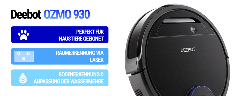 Staubsaugerroboter Deebot Ozmo 930 schwarz