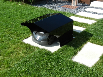Garage massiv schwarz klein - Rasenmähroboter