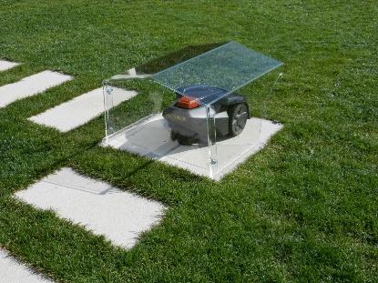Garage massiv transparent klein - Rasenmähroboter