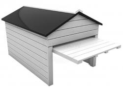 Garage aus Echtholz mit automatischen Tor (ÖFFNET U. SCHLIESST BEIM REIN-RAUSFAHREN)